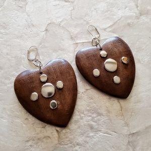 handmade retro looking wooden heart earrings